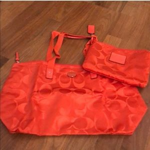 Coach Nylon Foldable Tote. Two Bags In One. Orange